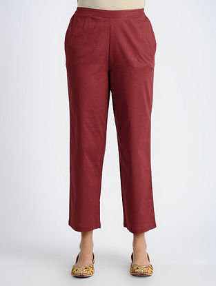 Maroon Elasticated-waist Cotton Pants