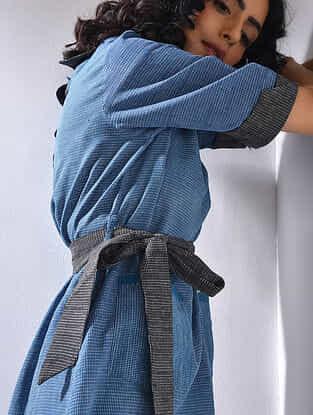 Blue-Black Handloom Cotton Dress