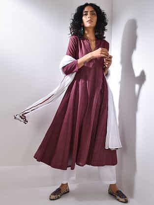 Maroon Handloom Cotton Kurta