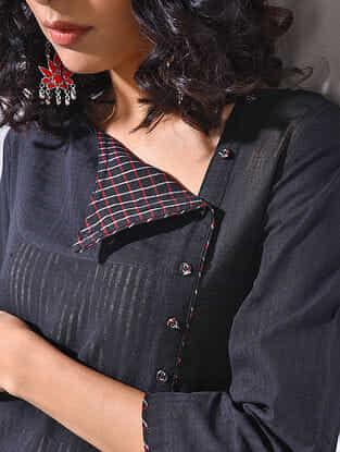Black Handloom Cotton Kurta
