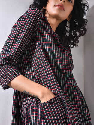 Black-Red Handloom Cotton Dress