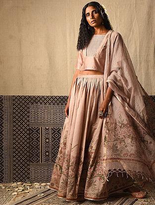Beige Chanderi Top and Skirt (Set of 2)