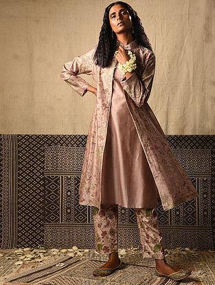 Beige Khari Printed Chanderi Jacket with Kurta (Set of 2)