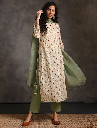 Ivory-Green Printed Cotton Kurta with Tassels