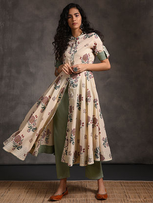 Ivory-Green Front-open Printed Cotton Kurta with Pockets