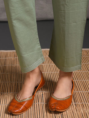 Green Tie-up Waist Cotton Pants with Zari