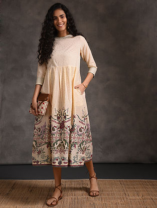 Ivory-Green Pleated Printed Cotton Dress