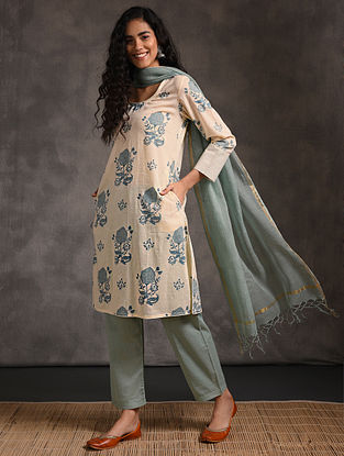 Ivory-Teal Printed Cotton Kurta with Pockets