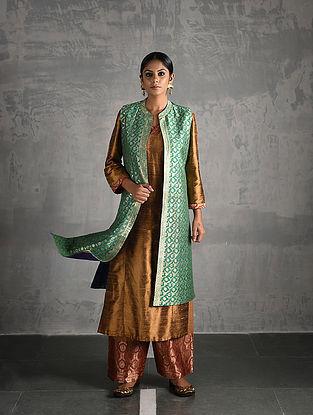 Green Vintage Benarasi Silk Brocade Jacket
