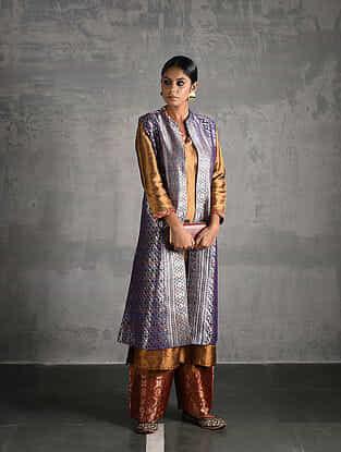Purple Vintage Benarasi Silk Brocade Jacket