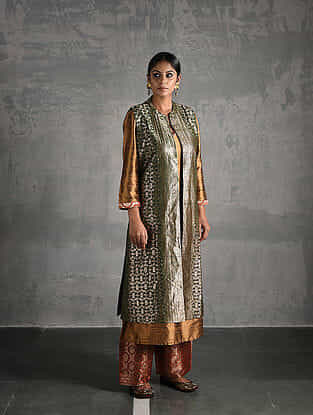 Green Vintage Benarasi Silk Brocade Jacket
