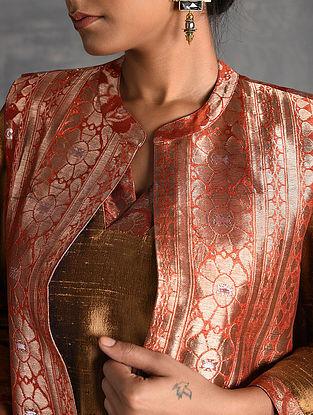 Orange Vintage Benarasi Silk Brocade Jacket