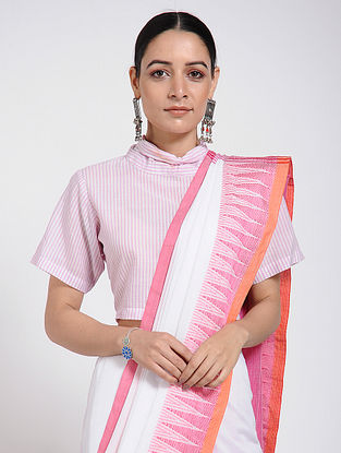 Ivory-Pink Handloom Cotton Blouse