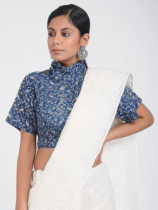 Indigo Dabu-printed Cotton Blouse