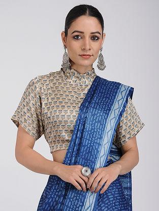 Beige Ajrakh-printed Silk Blouse