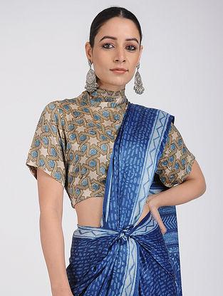 Beige-Blue Ajrakh-Printed Silk Blouse