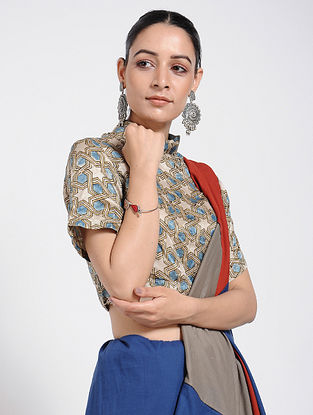 Beige-Blue Ajrakh-Printed Silk Blouse