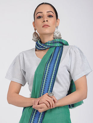 Ivory-Blue Handloom Cotton Blouse