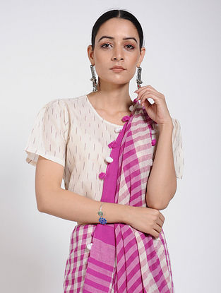 Ivory Handloom Ikat Cotton Blouse