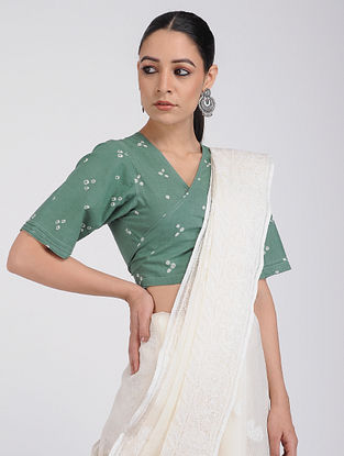 Green Bandhani Cotton Blouse