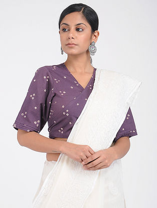 Purple Bandhani Cotton Blouse