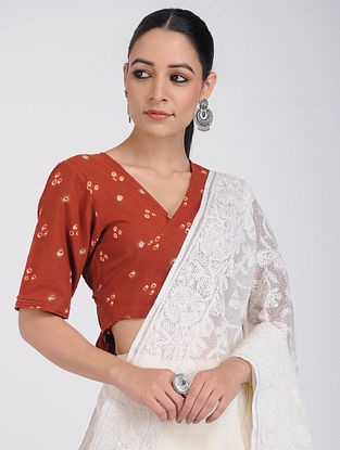 Maroon Bandhani Cotton Blouse