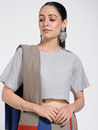 Black-White Handloom Cotton Blouse