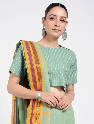 Green Handloom Ikat Cotton Blouse