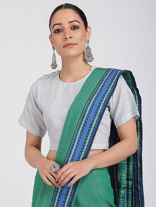 Ivory-Blue Handloom Cotton Blouse