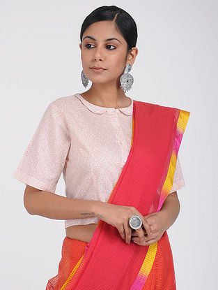 Ivory-Pink Printed Cotton Blouse