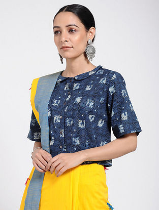 Indigo Dabu-printed Cotton Blouse