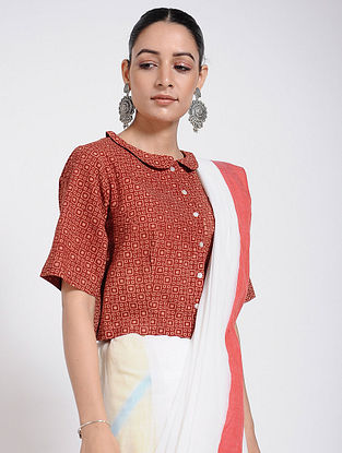 Madder Ajrakh-printed Cotton Blouse