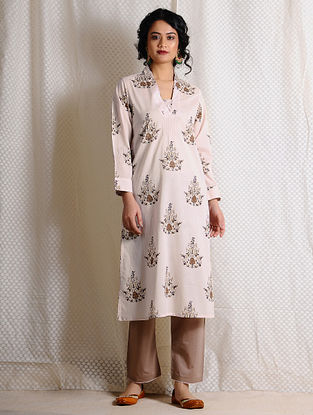Ivory-Brown Printed Cotton Kurta