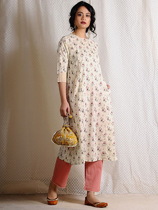 Ivory-Pink Printed Cotton Kurta with Pockets