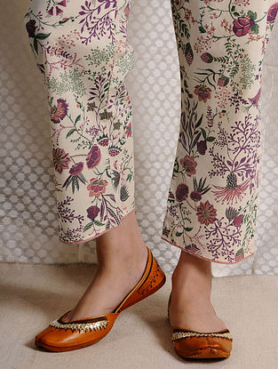 Ivory-Pink Tie-up Waist Printed Cotton Pants
