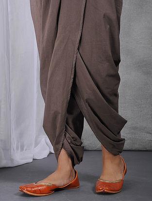 Charcoal Elasticated-waist Cotton Dhoti Pants