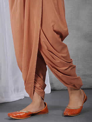 Peach Elasticated-waist Cotton Dhoti Pants