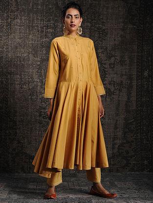 Mustard Tussar Munga Silk Kurta with Embellishment