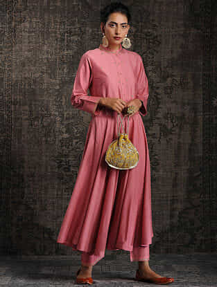 Pink Tussar Munga Silk Kurta with Embellishment