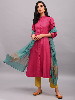 UVAHA - Fuchsia Button-down Tussar Cotton Kurta with Sleeve Detailing and Pockets
