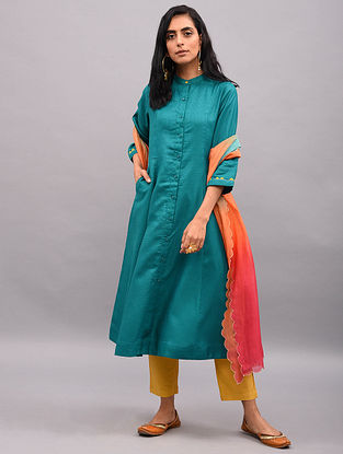 SHADI - Teal Button-down Tussar Cotton Kurta with Sleeve Detailing and Pockets