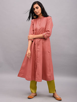 NAWRAH - Pink Button-down Tussar Cotton Kurta with Sleeve Detailing and Pockets