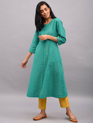 BAHLUL - Teal Button-down Cotton Kurta with Zari