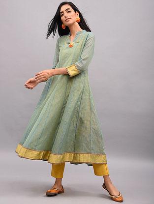 HANIYA - Blue-Lime Handloom Maheshwari Kalidar Kurta with Zari Border (Set of 2)