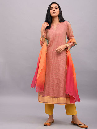 CHIMAYI - Pink Handloom Maheshwari Kurta with Zari Border and Lining