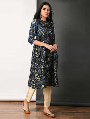 Indigo Ajrakh-printed Silk Cotton Kurta with Gathers