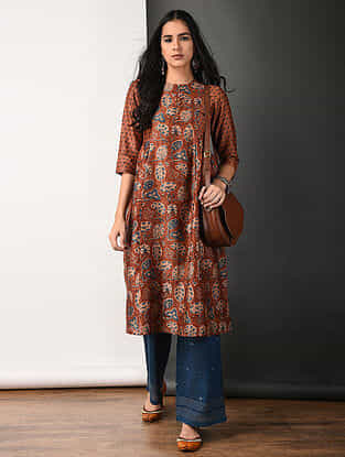 Rust Ajrakh-printed Silk Cotton Kurta with Gathers