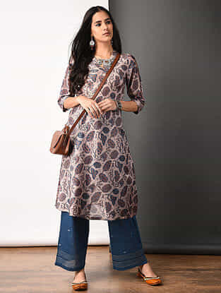 Purple Ajrakh-printed Silk Cotton Kurta