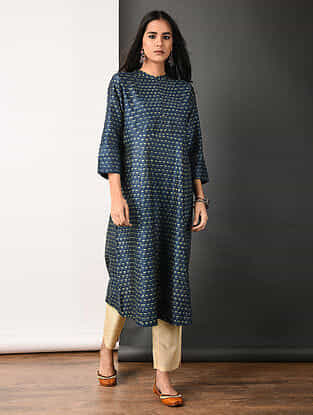 Indigo Ajrakh-printed Silk Cotton Kurta with Pleats