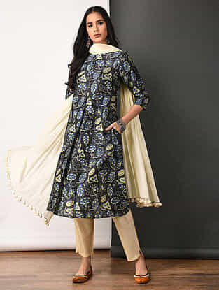 Indigo Ajrakh-printed Silk Cotton Kurta with Pockets